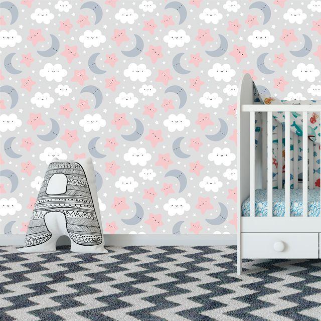Papel de Parede Nuvens Lua Estrelas Bebê Adesivo P265