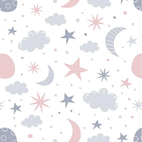 Papel de Parede Lua Estrelas Nuvens Poa Adesivo P364