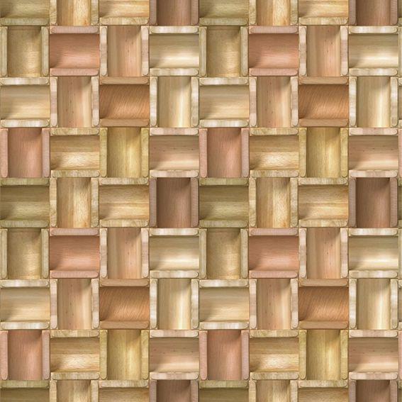 Papel de Parede 3D Madeira Geométrico Cilindro Cava Adesivo P014