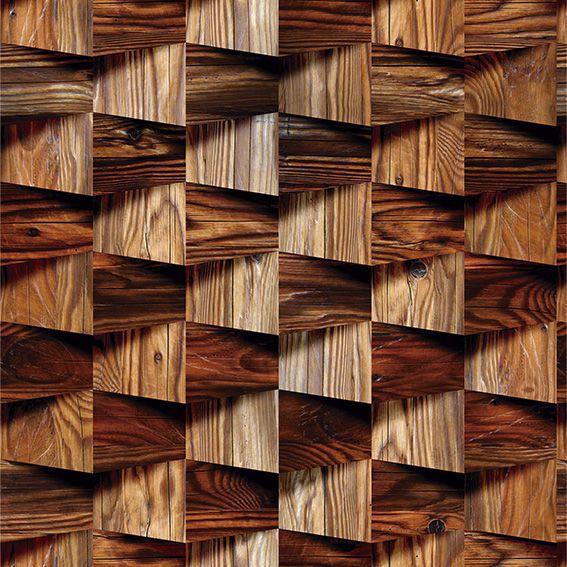 Papel de Parede Madeira 3D Zig Zag Chevron Mogno Adesivo P039