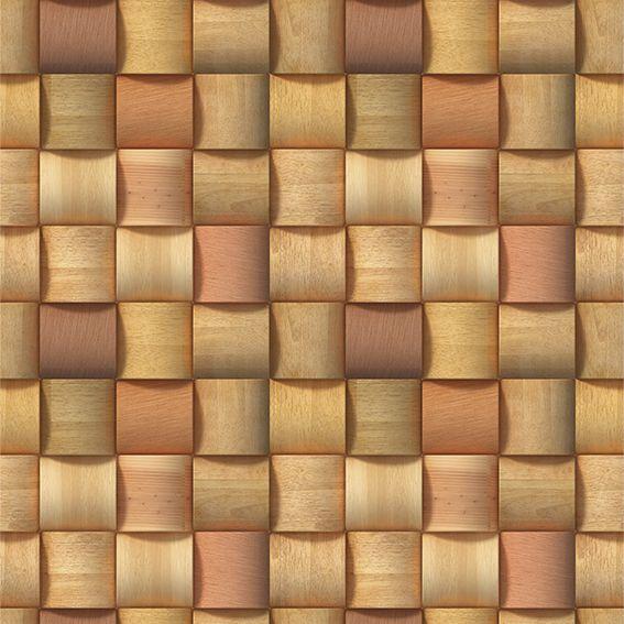 Papel de Parede Madeira 3D Clara Trançada Ondulada Adesivo P041