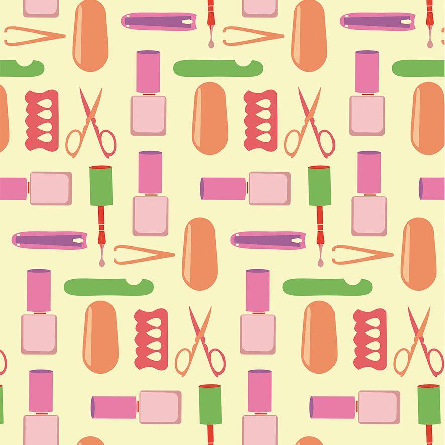 Papel de Parede Manicure  Esmaltes Lixas Adesivo P520