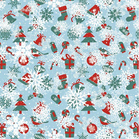 Papel de Parede Natal Neve Enfeites Adesivo P434