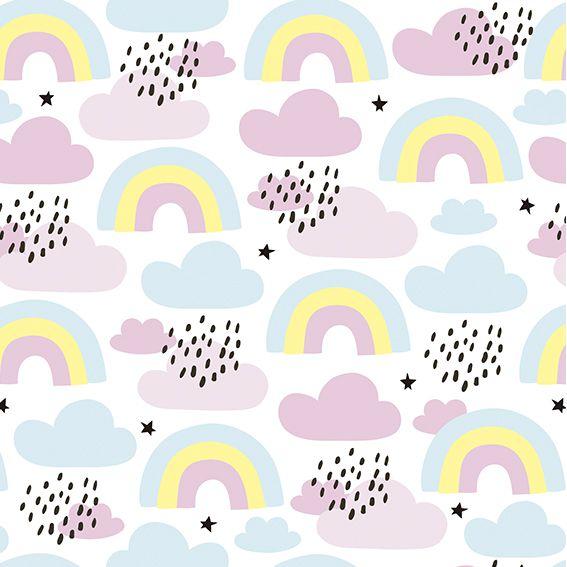 Papel de Parede Nuvens Colorida Arco-Iris Adesivo P344