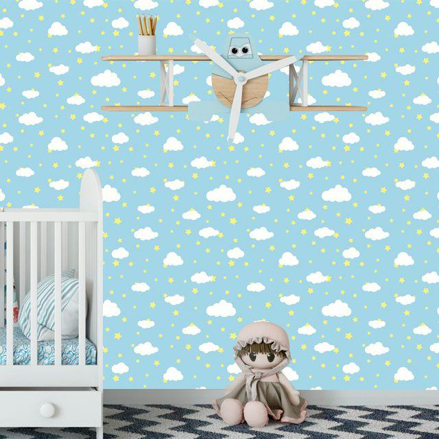 Papel de Parede Nuvens Estrelas Bebê Adesivo P295