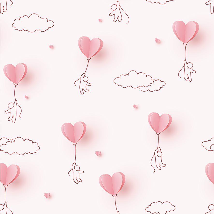 Papel de Parede 3D Nuvens Balão Corações Adesivo P694