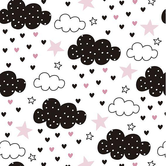 Papel de Parede Nuvens Chuva de Corações Love Adesivo P412