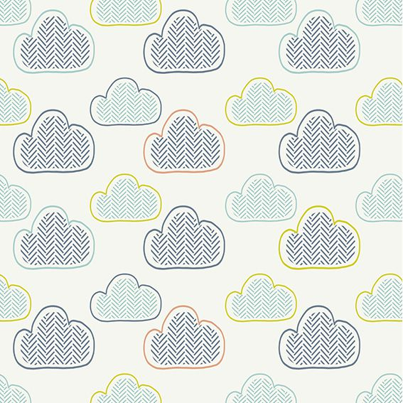 Papel de Parede Nuvens Chevron Bebê Adesivo P406