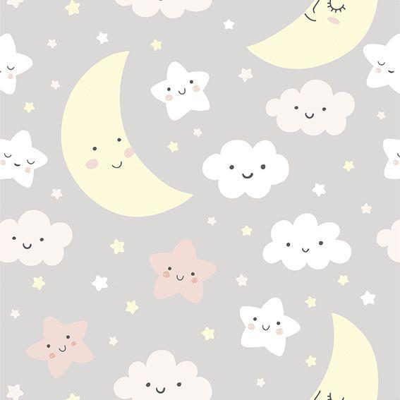 Papel de Parede Nuvens Estrelas Lua Bebê Adesivo P301