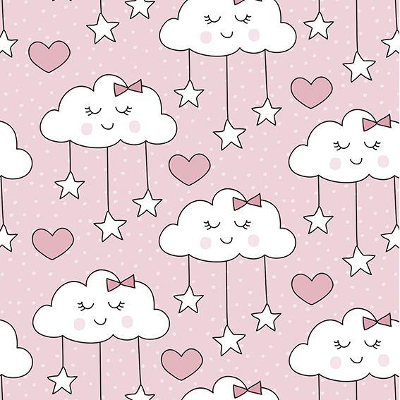 Papel de Parede Nuvens Estrelas Corações Poa Adesivo P356