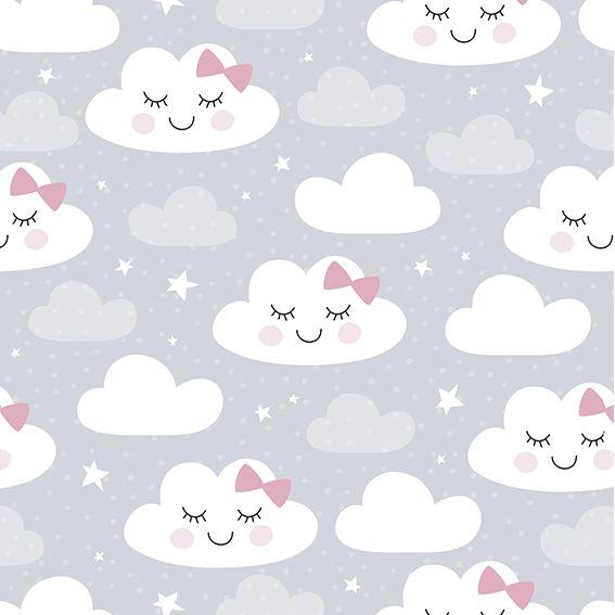 Papel de Parede Nuvens Lacinhos Estrelas Adesivo P342