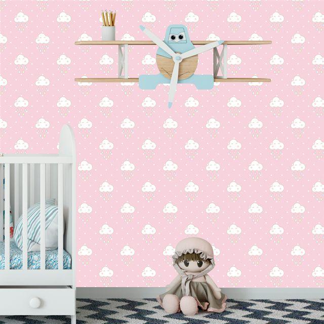 Papel de Parede Nuvens Bebê Poa Chuva Adesivo P107