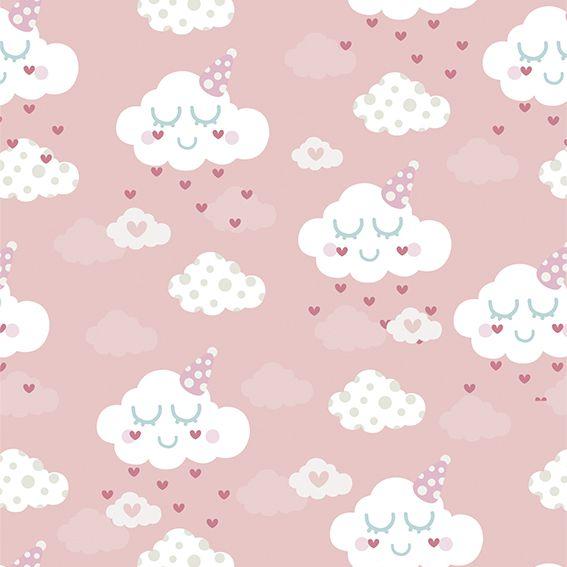Papel de Parede Nuvens Chuva de Corações Adesivo P299