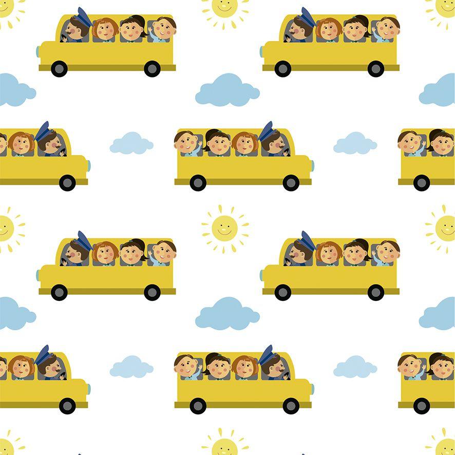 Papel de Parede Ônibus Escolar Sol Nuvens Adesivo P533