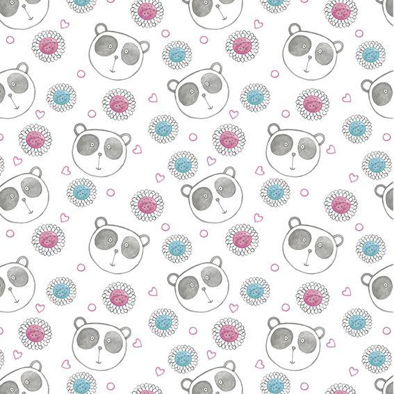 Papel de Parede Ursinho Panda Floral Adesivo P398