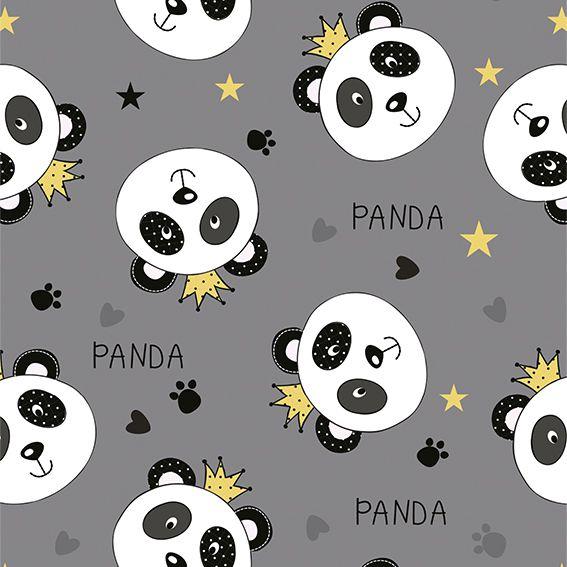 Papel de Parede Urso Panda Rei Coroas Corações Adesivo P277