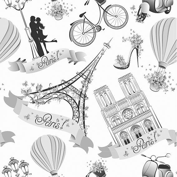 Papel de Parede Paris Torre Eiffel Balão Vintage Adesivo