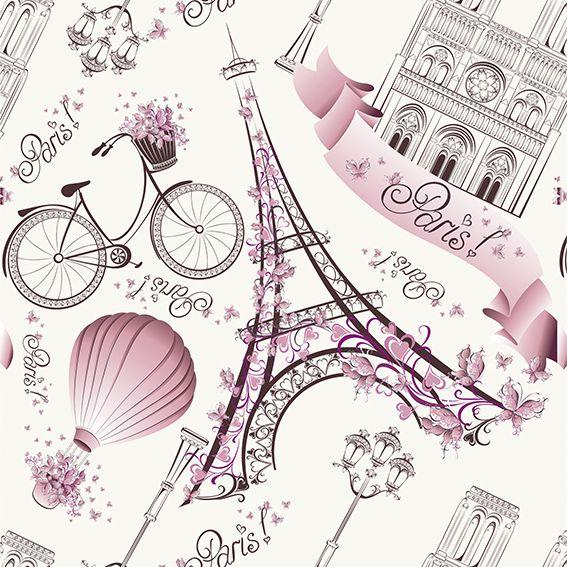 Papel de Parede Adesivo Paris Rosa P005R