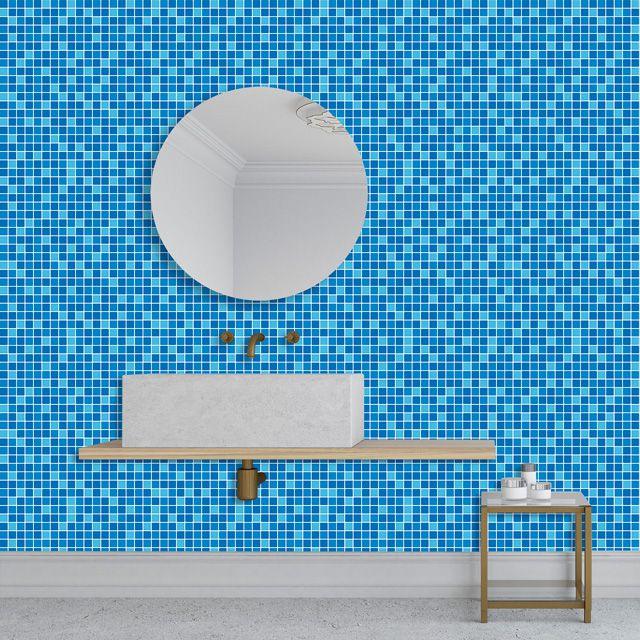 Papel de Parede Adesivo Pastilha Azul P181