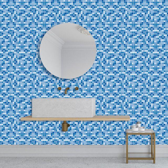 Papel de Parede Adesivo Pastilha Tom Azul P191