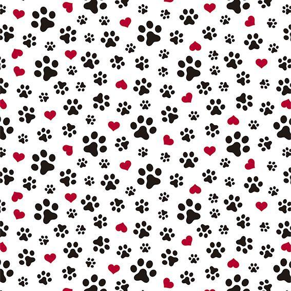 Papel de Parede Pet Shop Patas e Corações Adesivo P104
