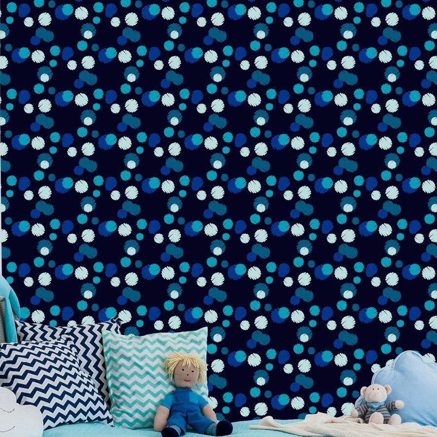Papel de Parede Poa Tons Azul  Kids Adesivo P734