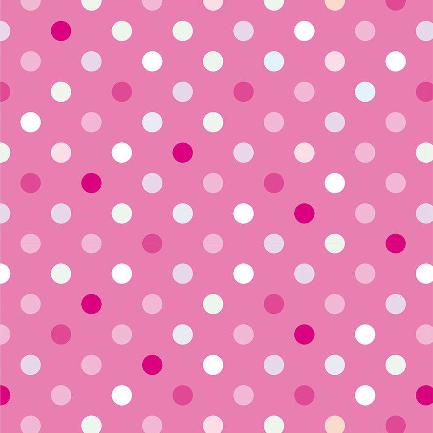 Papel de Parede Poa Bolinhas Tons Rosa Adesivo P661