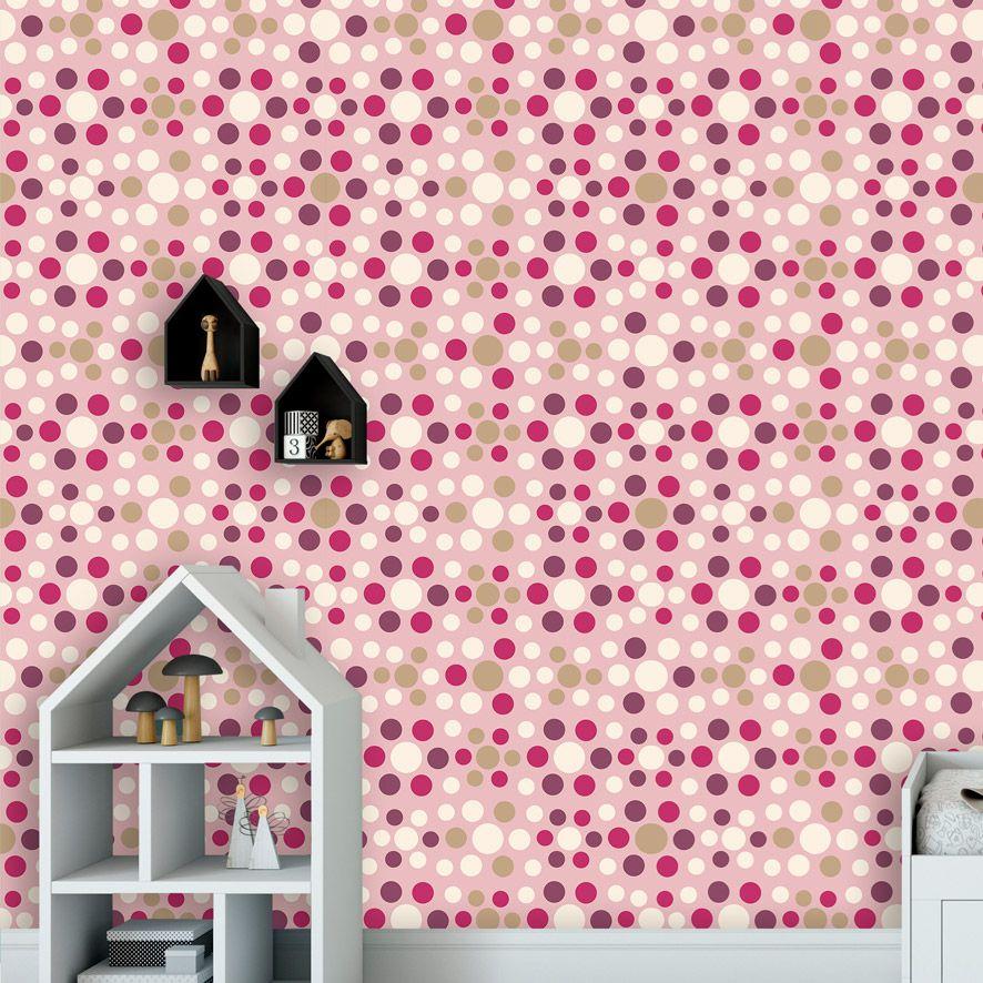 Papel de Parede Poa Bolinhas Tons Rosa Adesivo P736