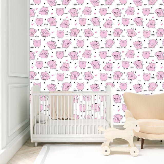 Papel de Parede Porquinho Rosa Corações Bolinhas Adesivo P300