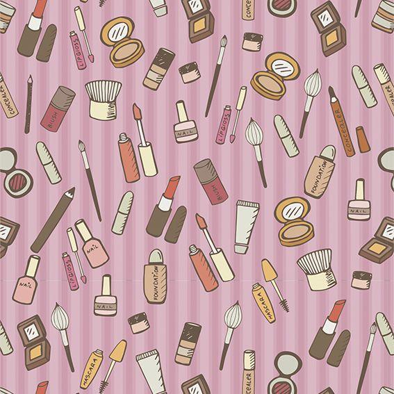 Papel de Parede Salão de Beleza Makeup Maquiagens Adesivo P156