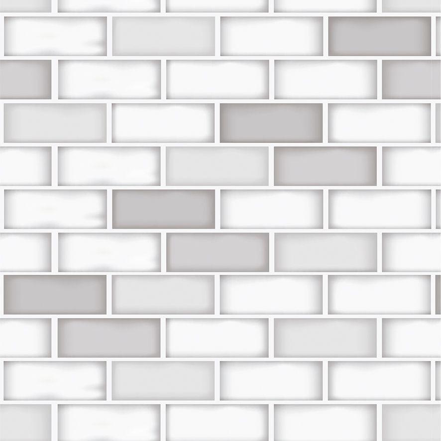 Papel de Parede Tijolinhos Branco Cinza Retro Adesivo P548
