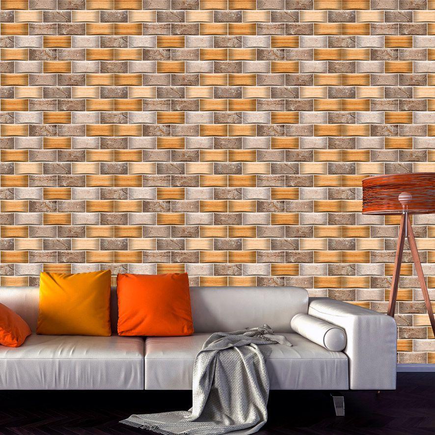 Papel de Parede 3D Tijolinhos Pedras Madeira Adesivo P558