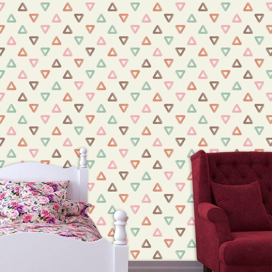 Papel de Parede Triângulos Geométrico Colorido Adesivo P714