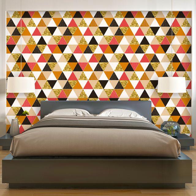 Papel de Parede Abstrato Geométrico Triangulos Adesivo P313