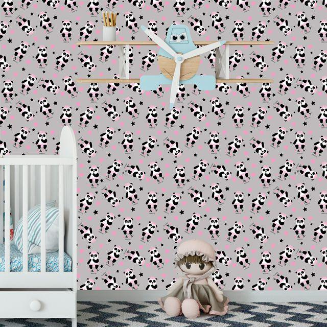 Papel de Parede Ursinho Baby Estrelas Corações Adesivo P325