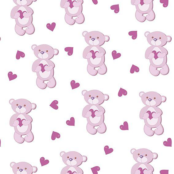 Papel de Parede Ursinho Cute Love Corações Adesivo P372