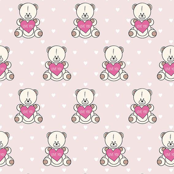 Papel de Parede Ursinhos Love Corações Adesivo P478