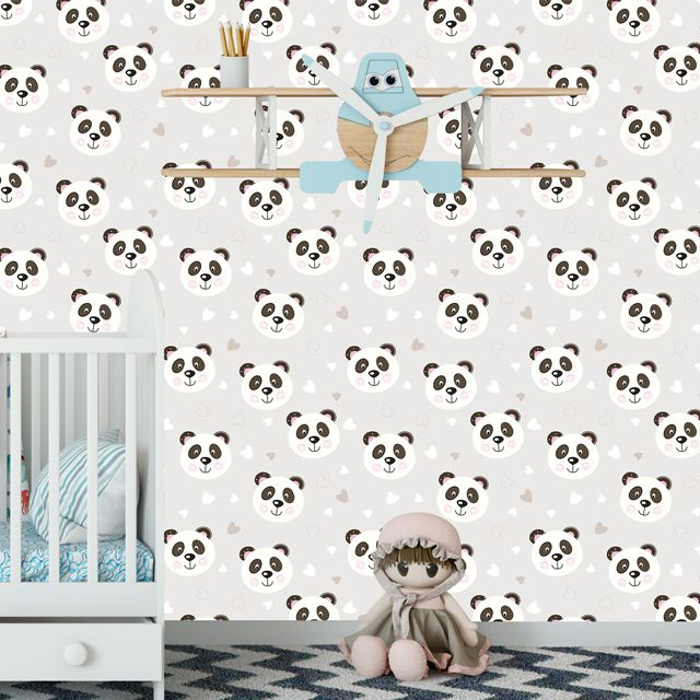 Papel de Parede Ursinho Panda Corações Cute Adesivo P408