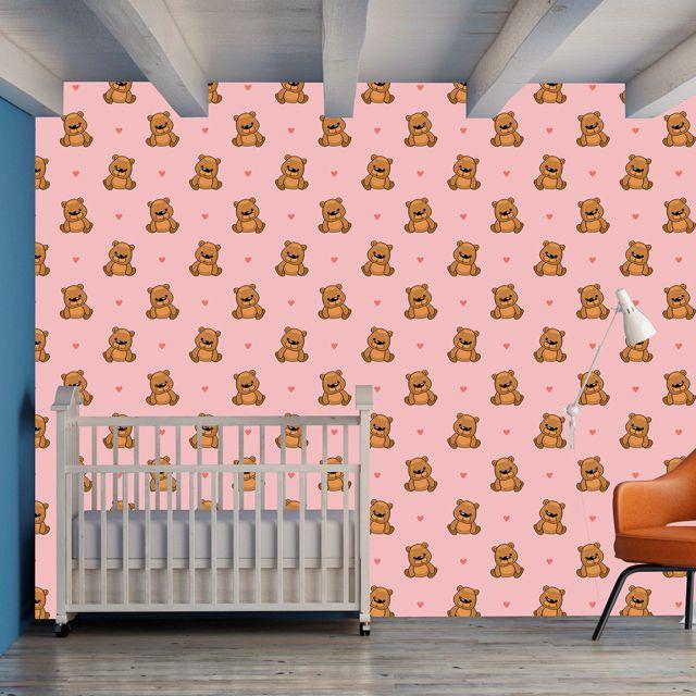 Papel de Parede Ursinho de Pelúcia Love Bebê Adesivo P279