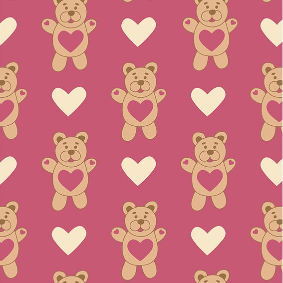 Papel de Parede Ursinho Cute Corações Love Adesivo P436