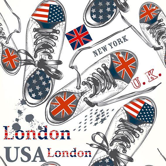 Papel de Parede All Star London USA Kids Adesivo P474