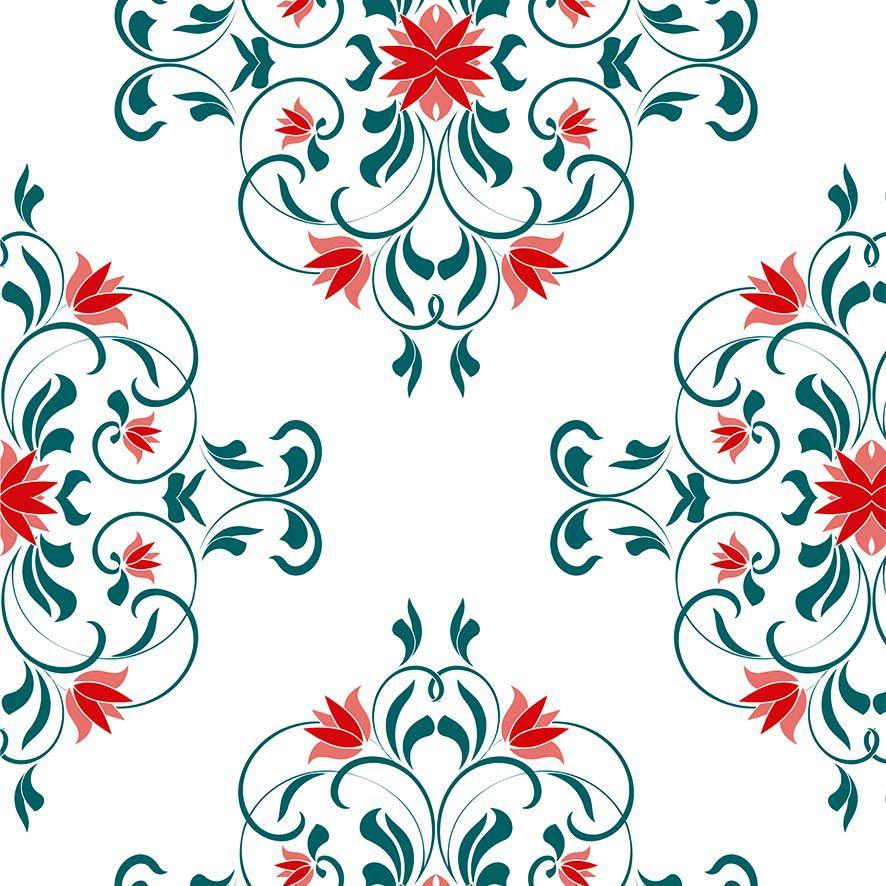 Papel de Parede Arabesco Floral Vintage Folhas Adesivo P873
