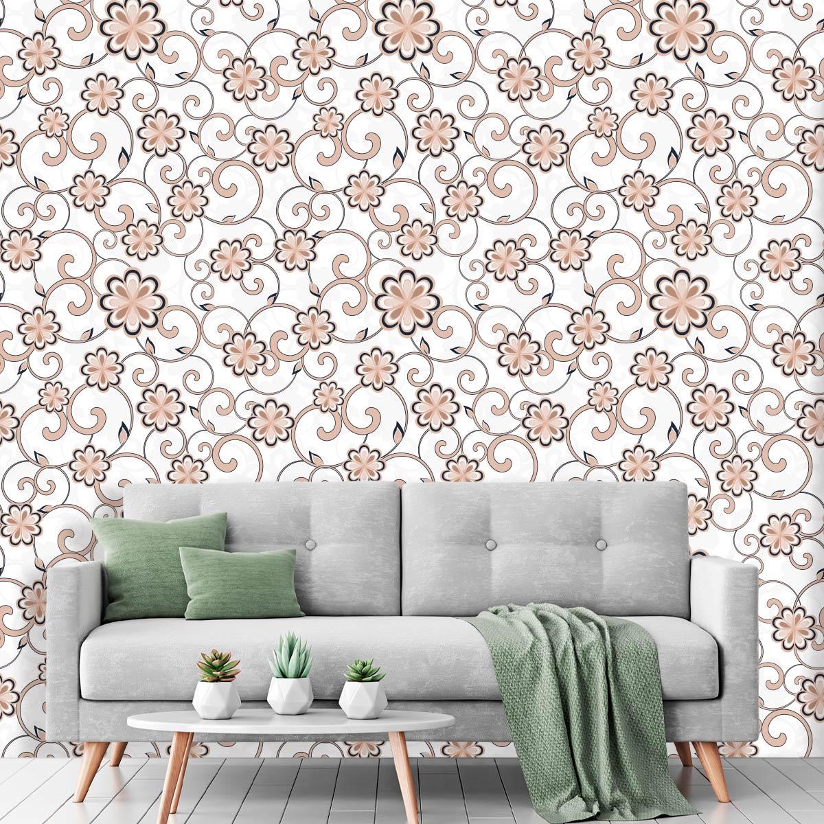 Papel de Parede Arabesco Flores Glamour Adesivo
