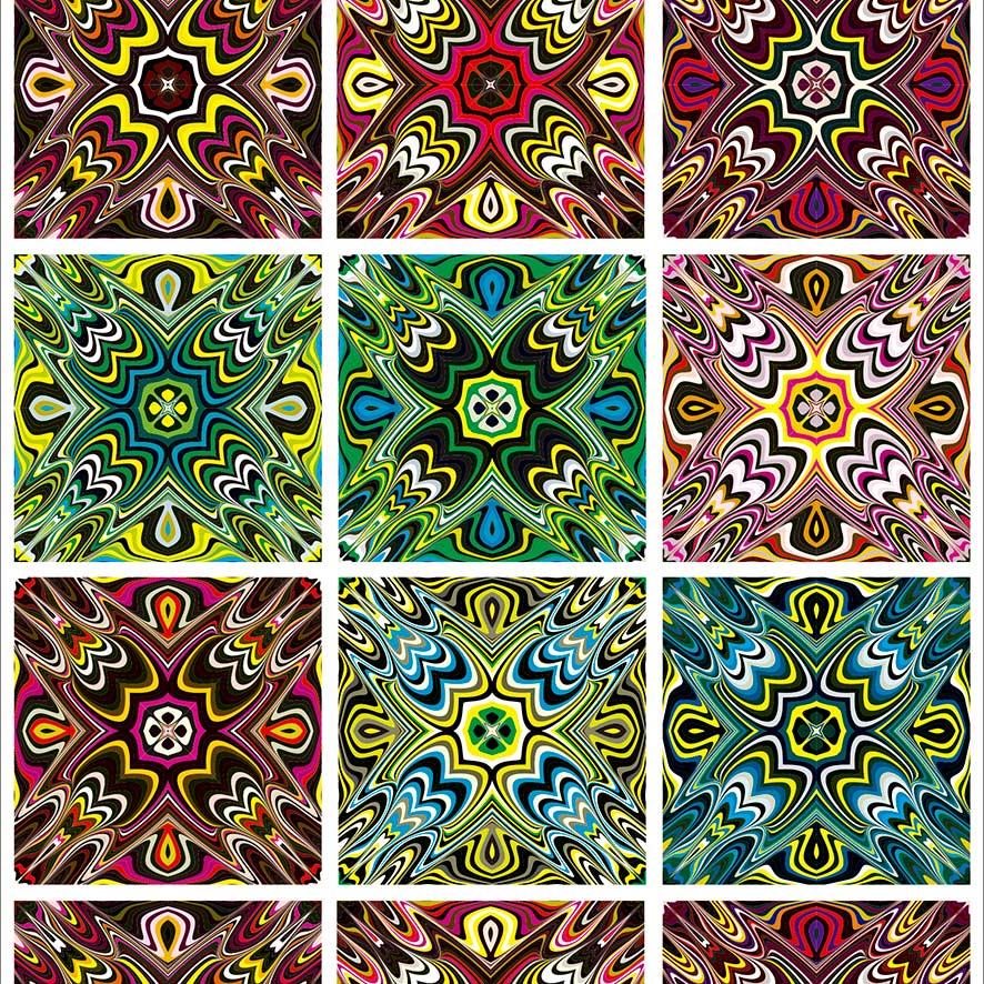 Papel de Parede Azulejo Geométrico Abstrato Colorido Adesivo P833