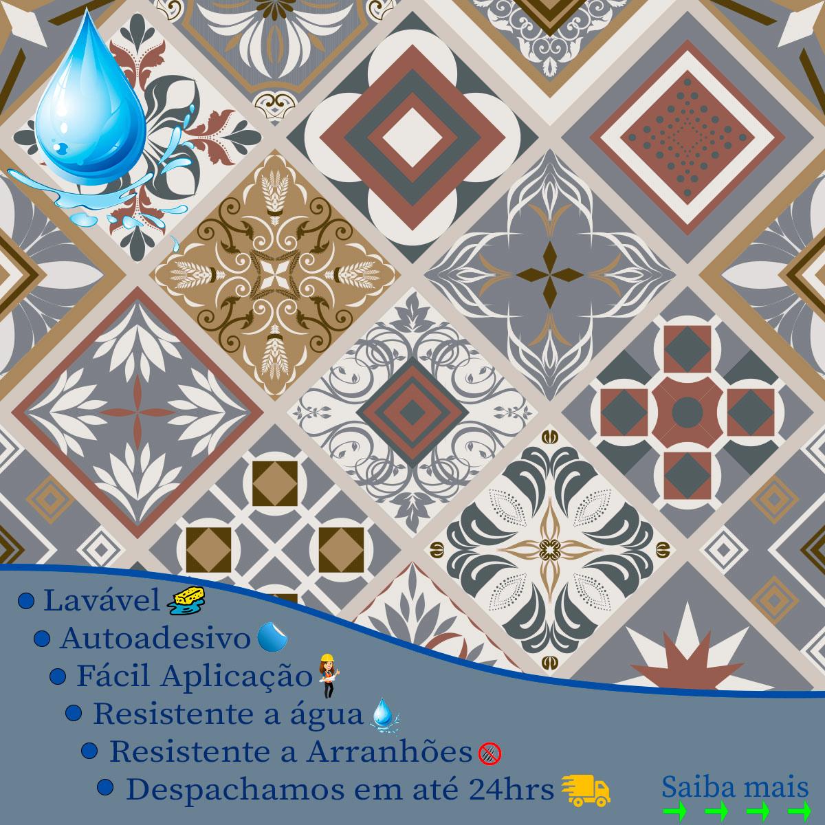 Papel de Parede Azulejo Grego Geométrico Adesivo