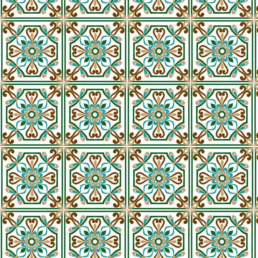 Papel de Parede Azulejo Grego Ladrilho Vintage Adesivo P850