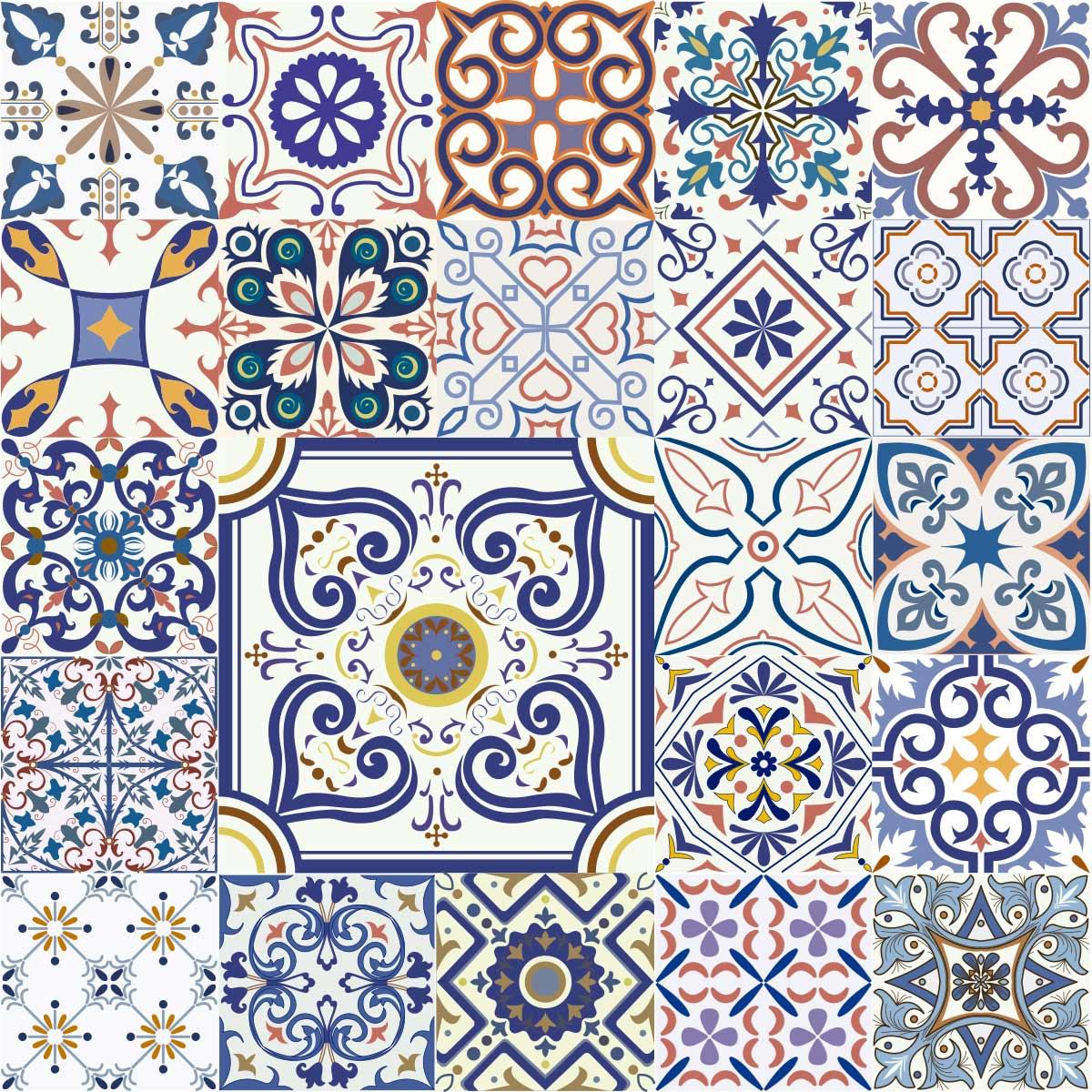 Papel de Parede Azulejo Grego Vintage Adesivo