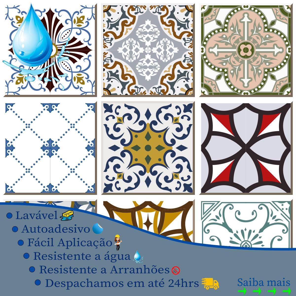 Papel de Parede Azulejo Hidraulico Geométrico Adesivo
