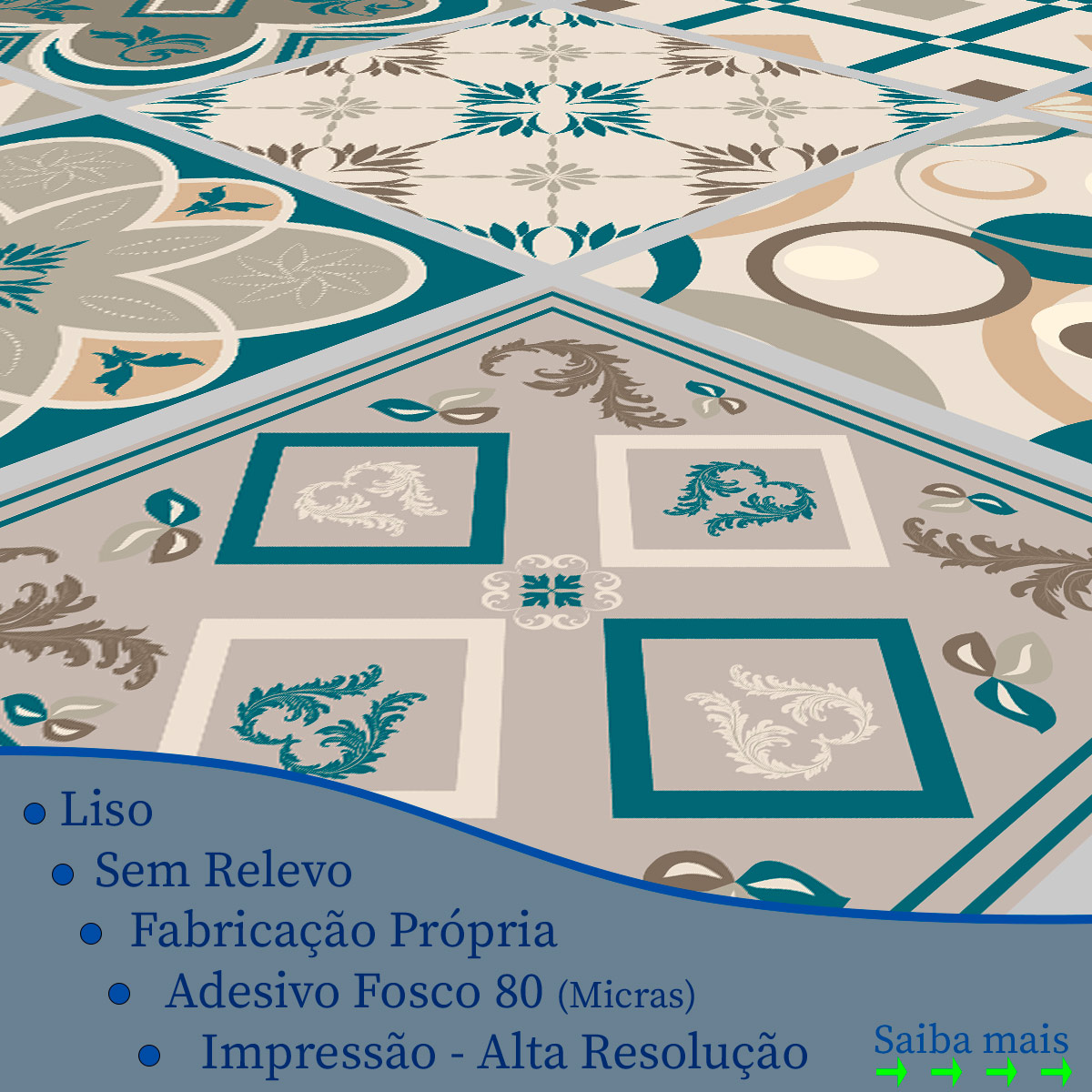 Papel de Parede Azulejo Hidraulico Marroquino Adesivo