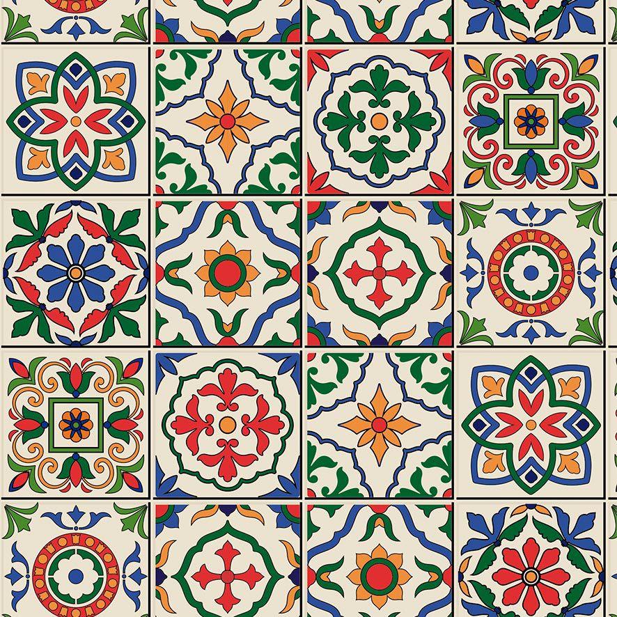 Papel de Parede Azulejo Ladrilho Geométrico Vintage Adesivo P852